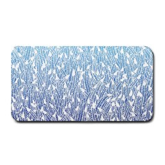 Blue Ombre Feather Pattern, White, Medium Bar Mat by Zandiepants