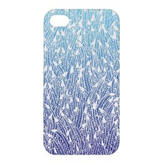 Blue Ombre Feather Pattern, White, Apple Iphone 4/4s Hardshell Case by Zandiepants