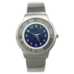 Blue Ombre Feather Pattern, Black, Stainless Steel Watch by Zandiepants