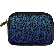 Blue Ombre Feather Pattern, Black, Digital Camera Leather Case by Zandiepants