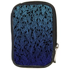 Blue Ombre Feather Pattern, Black, Compact Camera Leather Case by Zandiepants