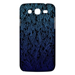Blue Ombre Feather Pattern, Black, Samsung Galaxy Mega 5 8 I9152 Hardshell Case  by Zandiepants