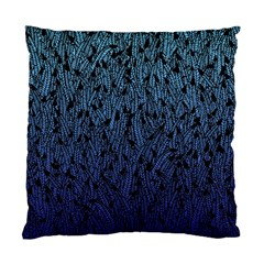 Blue Ombre Feather Pattern, Black, Standard Cushion Case (two Sides) by Zandiepants