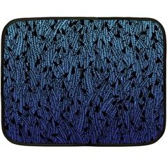 Blue Ombre Feather Pattern, Black, Double Sided Fleece Blanket (mini) by Zandiepants