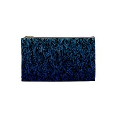 Blue Ombre feather pattern, black, Cosmetic Bag (Small) by Zandiepants