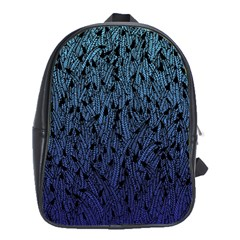 Blue Ombre Feather Pattern, Black, School Bag (xl) by Zandiepants