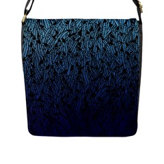 Blue Ombre Feather Pattern, Black, Flap Closure Messenger Bag (l) by Zandiepants