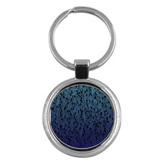 Blue Ombre Feather Pattern, Black, Key Chain (round) by Zandiepants