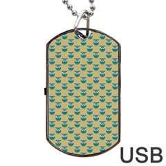 Small Teal Owls On Ecru Dog Tag USB Flash (Two Sides)  by CircusValleyMall