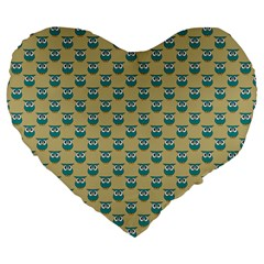 Small Teal Owls On Ecru Large 19  Premium Flano Heart Shape Cushions by CircusValleyMall