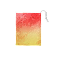 Ombre Orange Yellow Drawstring Pouches (small)  by BrightVibesDesign