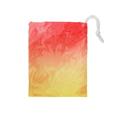 Ombre Orange Yellow Drawstring Pouches (medium)  by BrightVibesDesign
