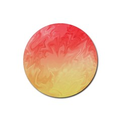 Ombre Orange Yellow Rubber Round Coaster (4 Pack)  by BrightVibesDesign