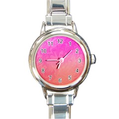 Ombre Pink Orange Round Italian Charm Watch by BrightVibesDesign