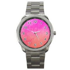 Ombre Pink Orange Sport Metal Watch by BrightVibesDesign