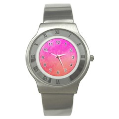 Ombre Pink Orange Stainless Steel Watch by BrightVibesDesign