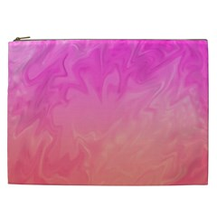 Ombre Pink Orange Cosmetic Bag (xxl)  by BrightVibesDesign