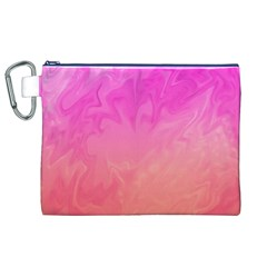 Ombre Pink Orange Canvas Cosmetic Bag (XL)  by BrightVibesDesign