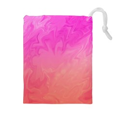 Ombre Pink Orange Drawstring Pouches (extra Large) by BrightVibesDesign