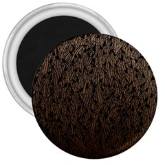 Brown Ombre Feather Pattern, Black, 3  Magnet by Zandiepants
