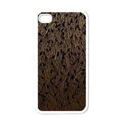 Brown Ombre Feather Pattern, Black, Apple Iphone 4 Case (white) by Zandiepants
