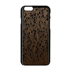 Brown Ombre Feather Pattern, Black, Apple Iphone 6/6s Black Enamel Case by Zandiepants