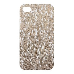 Brown Ombre Feather Pattern, White, Apple Iphone 4/4s Hardshell Case by Zandiepants