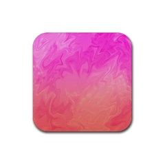 Ombre Pink Orange Rubber Square Coaster (4 Pack)  by BrightVibesDesign