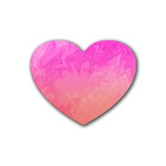 Ombre Pink Orange Heart Coaster (4 Pack)  by BrightVibesDesign