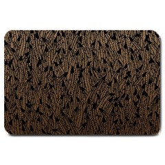 Brown Ombre Feather Pattern, Black, Large Doormat by Zandiepants