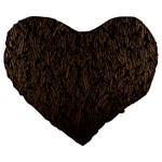 Brown Ombre feather pattern, black, Large 19  Premium Flano Heart Shape Cushion Front