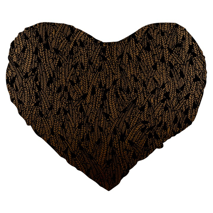 Brown Ombre feather pattern, black, Large 19  Premium Flano Heart Shape Cushion