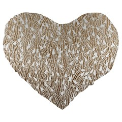 Brown Ombre Feather Pattern, White, Large 19  Premium Flano Heart Shape Cushion by Zandiepants