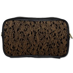 Brown Ombre Feather Pattern, Black, Toiletries Bag (two Sides) by Zandiepants