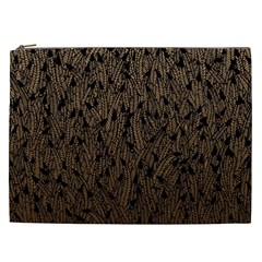 Brown Ombre Feather Pattern, Black, Cosmetic Bag (xxl) by Zandiepants