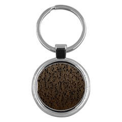 Brown Ombre Feather Pattern, Black, Key Chain (round) by Zandiepants