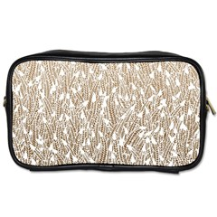 Brown Ombre Feather Pattern, White, Toiletries Bag (two Sides) by Zandiepants
