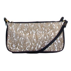 Brown Ombre Feather Pattern, White, Shoulder Clutch Bag by Zandiepants