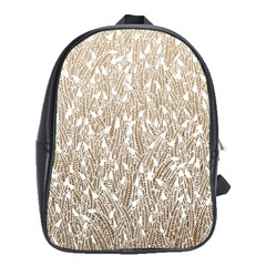 Brown Ombre Feather Pattern, White, School Bag (xl) by Zandiepants