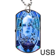 Clockwork Blue Dog Tag Usb Flash (two Sides)  by icarusismartdesigns