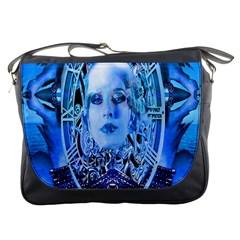 Clockwork Blue Messenger Bags by icarusismartdesigns