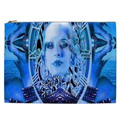 Clockwork Blue Cosmetic Bag (xxl)  by icarusismartdesigns