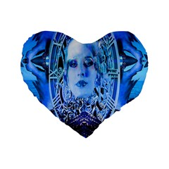 Clockwork Blue Standard 16  Premium Flano Heart Shape Cushions by icarusismartdesigns