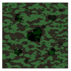 Green Camo Hearts Large Satin Scarf (square) by TRENDYcouture