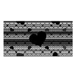 Black and Gray Abstract Hearts Satin Shawl