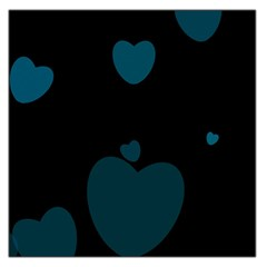 Teal Hearts Large Satin Scarf (square) by TRENDYcouture