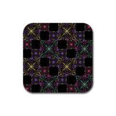 Ornate Boho Patchwork Rubber Coaster (square)  by dflcprints