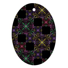 Ornate Boho Patchwork Oval Ornament (two Sides) by dflcprints