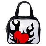 Black And Red Flaming Heart Classic Handbags (One Side)