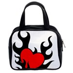 Black And Red Flaming Heart Classic Handbags (2 Sides)